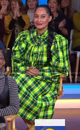 Tracee Ellis Ross's green and yellow plaid dress on Good Morning America