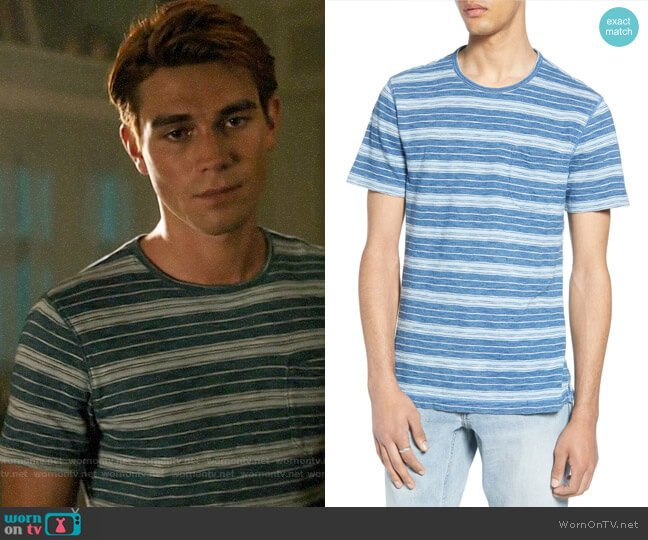 Treasure & Bond Variegated Stripe Pocket T-Shirt worn by Archie Andrews (K.J. Apa) on Riverdale