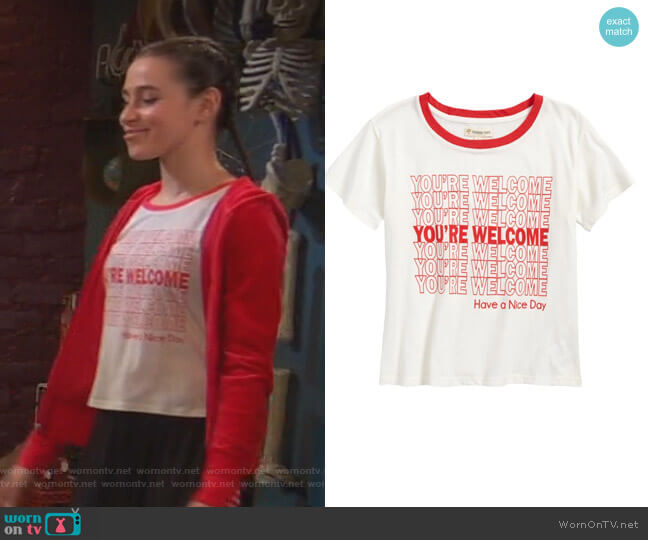 Graphic Tee by Tucker + Tate worn by Tess O'Malley (Sky Katz) on Ravens Home