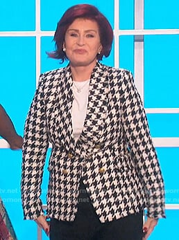 Sharon's houndstooth tweed blazer on The Talk