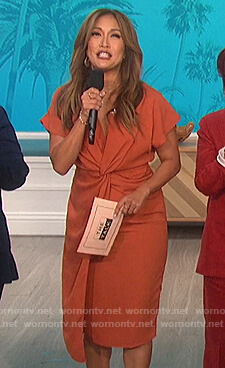 Carrie's orange twist front dress on The Talk