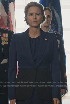 Elizabeth's two tone blazer on Madam Secretary