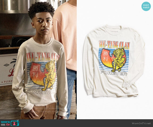 Urban Outfitters Wu-Tang Clan Tiger Long Sleeve Tee worn by Jack Johnson (Miles Brown) on Blackish