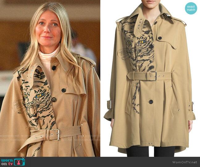 Valentino Long-Sleeve Tiger-Print Cotton Gabardine Cape Jacket worn by Georgina Hobart (Gwyneth Paltrow) on The Politician