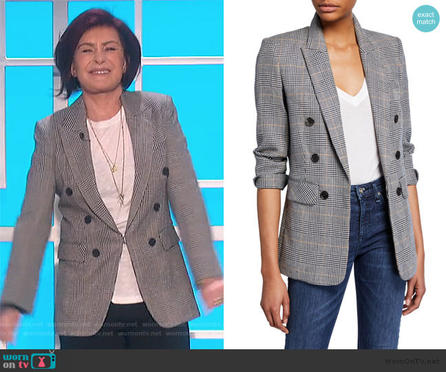 Bexley Dickey Prince of Wales Check Blazer by Veronica Beard worn by Sharon Osbourne  on The Talk