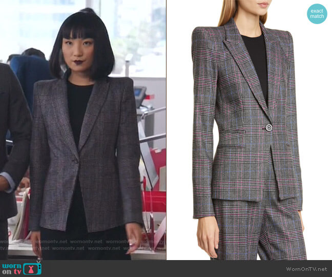 Brock Glen Plaid Dickey Blazer by Veronica Beard worn by Mei Lin (Poppy Liu) on Sunnyside