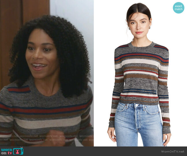 Jora Cropped Pullover by Veronica Beard worn by Maggie Pierce (Kelly McCreary) on Greys Anatomy
