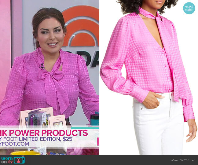 Nicky Tie Neck Houndstooth Jacquard Silk Top by Veronica Beard worn by Bobbie Thomas on Today Show