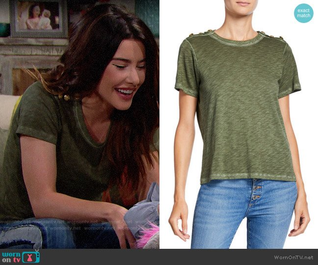 Veronica Beard Carla Tee worn by Steffy Forrester (Jacqueline MacInnes Wood) on The Bold & the Beautiful