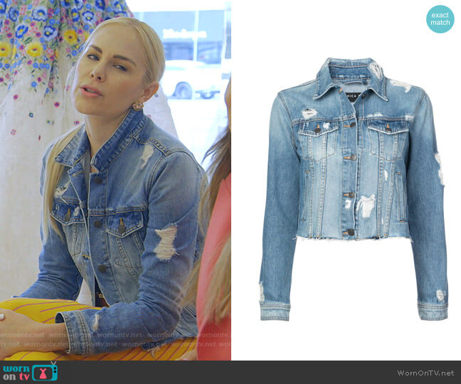 Cara Distressed Jean Jacket by Veronica Beard worn by Kameron Westcott  on The Real Housewives of Dallas