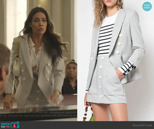 Double Breasted Blazer and Plaid Button Skirt by Veronica Beard worn by Cristal Jennings (Daniella Alonso) on Dynasty