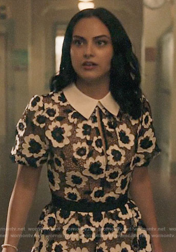 Veronica's black and white floral lace dress on Riverdale