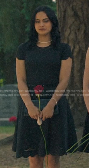 Veronica's black scalloped trim dress on Riverdale