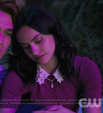 Veronica's purple sweater with floral collar on Riverdale