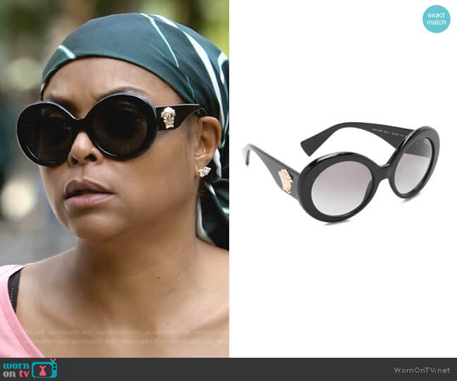 Round Sunglasses by Versace worn by Cookie Lyon (Taraji P. Henson) on Empire
