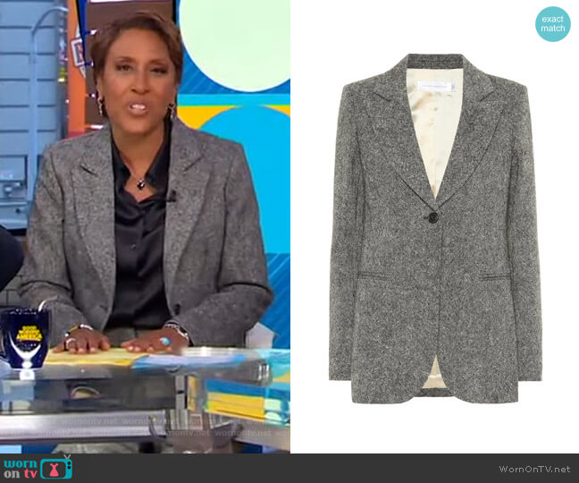Donegal Tweed Blazer by Victoria Beckham worn by Robin Roberts  on Good Morning America