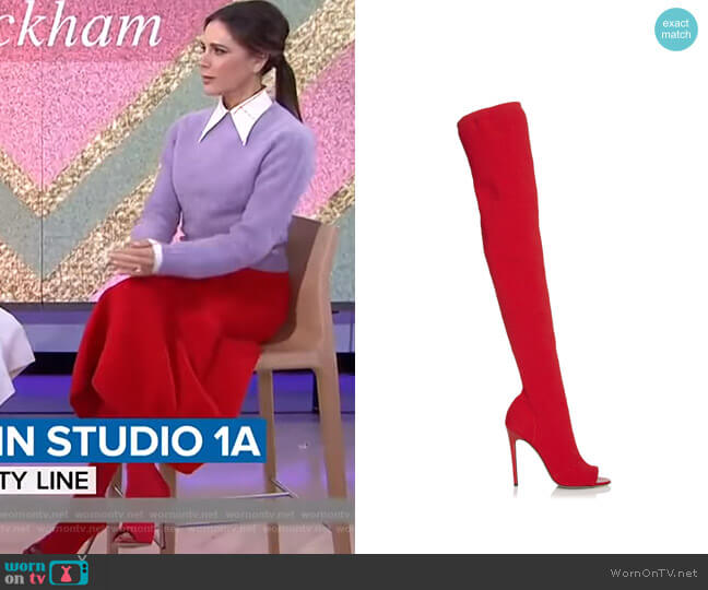 Jasmine Stretch-Knit Thigh Boots by Victoria Beckham worn by Victoria Beckham on Today Show