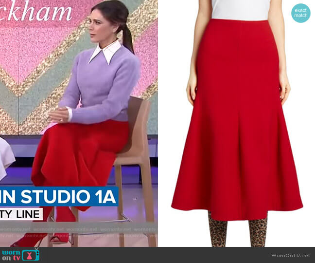 Panelled Flare Midi Skirt by Victoria Beckham worn by Victoria Beckham on Today Show