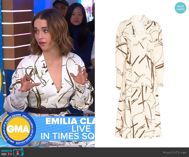 Printed Crepe Flared Midi Dress by Victoria Beckham worn by Emilia Clarke