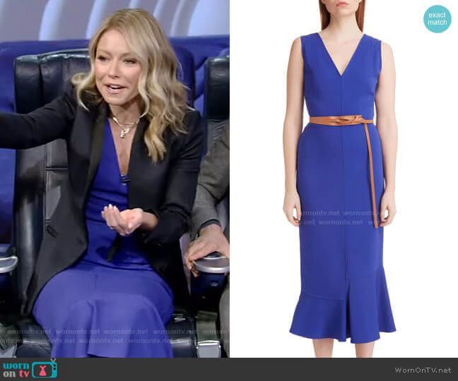 Ruffle Hem Belted Midi Dress by Victoria Beckham worn by Kelly Ripa  on Live with Kelly & Ryan