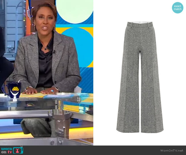 Tweed Wool Wide-Leg Pants by Victoria Beckham worn by Robin Roberts  on Good Morning America