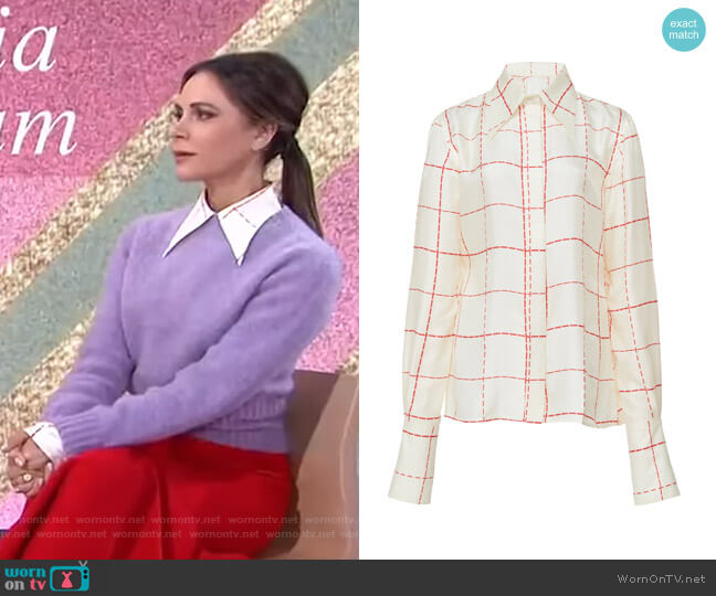 Windowpane Silk Crepe Scarf-Effect Blouse by Victoria Beckham worn by Victoria Beckham on Today Show