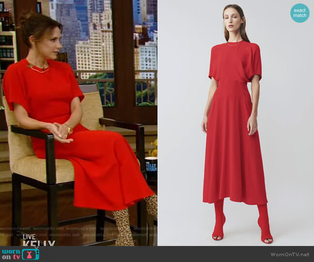 Batwing Front Pleat Midi Dress by Victoria Beckham worn by Victoria Beckham on Live with Kelly and Ryan