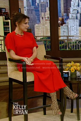 Victoria Beckham's red short sleeve midi dress on Live with Kelly and Ryan