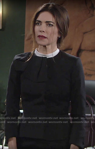 Victoria's black ruffle detail jacket on The Young and the Restless