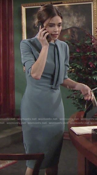 Victoria's blue tie neck dress on The Young and the Restless