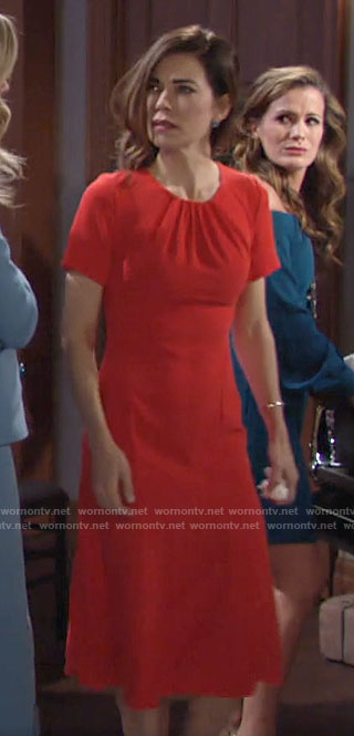 Victoria's red short sleeve dress with tie back on The Young and the Restless