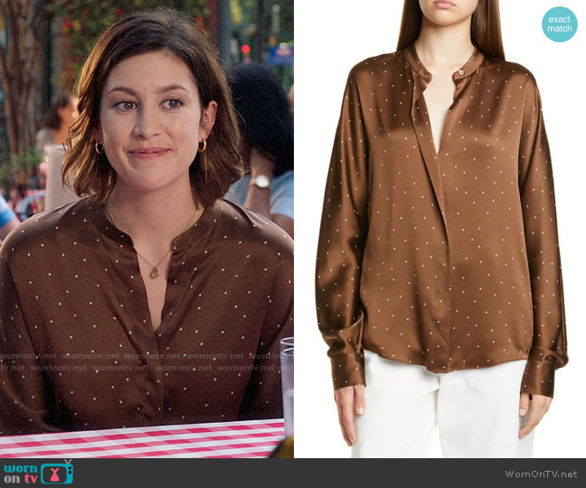 Vince Dot Print Popover Silk Blouse worn by Sydney Strait (Caitlin McGee) on Bluff City Law