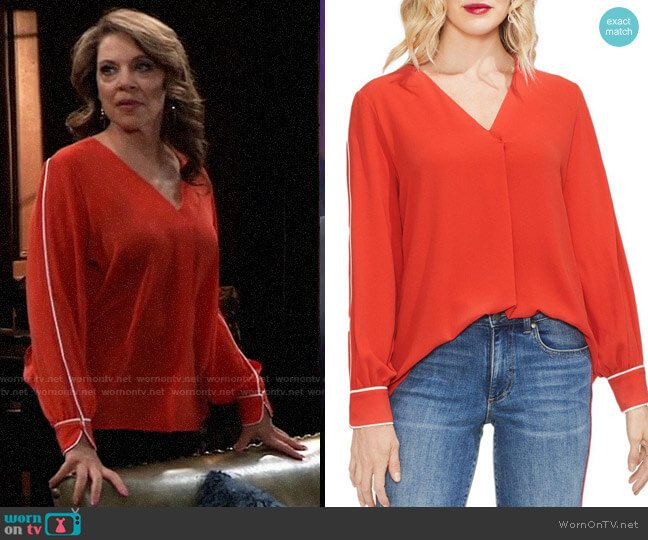 Vince Camuto Contrast Piping Blouse worn by Liesl Obrecht (Kathleen Gati) on General Hospital