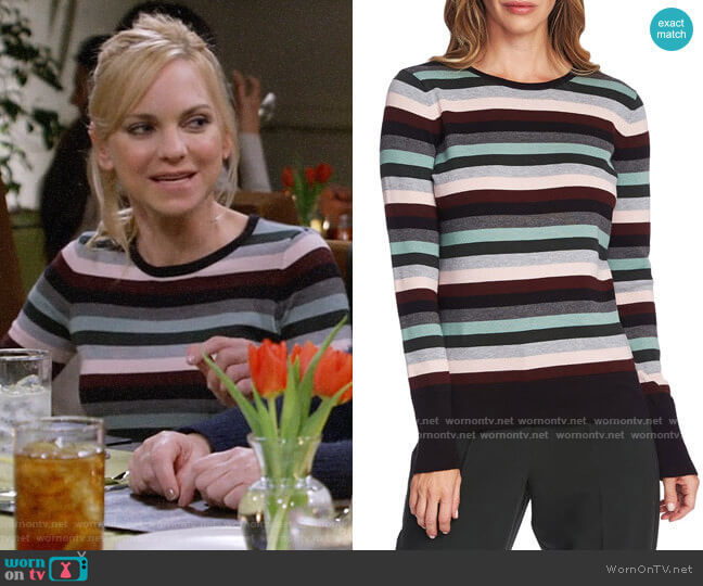 Vince Camuto Striped Sweater worn by Christy Plunkett (Anna Faris) on Mom