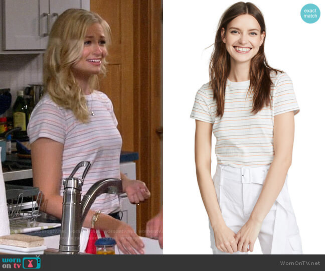 Vince Multi Stripe Essential Crew Tee worn by Gemma (Beth Behrs) on The Neighborhood