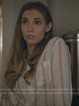 Stevie's white and pink stripe shirt on Madam Secretary