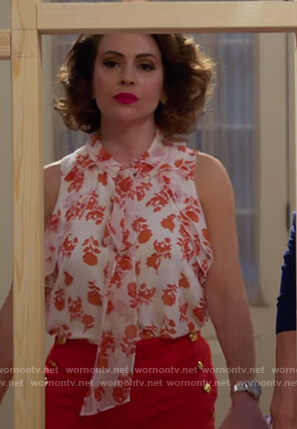 Coralee's white floral tie neck top on Insatiable