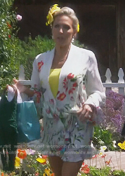 Braunwyn's white floral wrap dress on The Real Housewives of Orange County