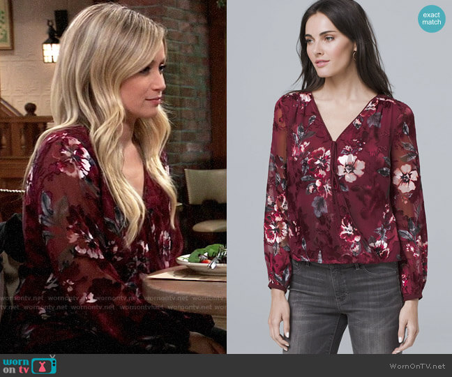 White House Black Market Floral Burnout blouse worn by Lulu Spencer Falconeri (Emme Rylan) on General Hospital