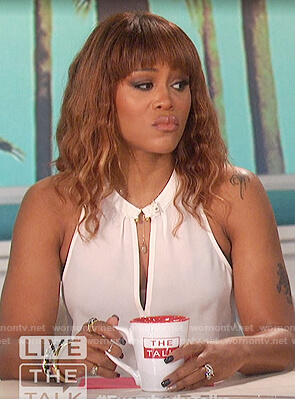 Eve's white keyhole sleeveless top on The Talk
