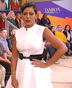 Tamron's white sleeveless mini dress on The Talk