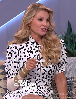 Christie Brinkley's white leopard print dress on The Kelly Clarkson Show
