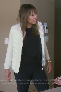 Kelly's white knit puffer jacket on The Real Housewives of Orange County