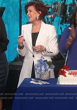Sharon's white long single breasted blazer on The Talk