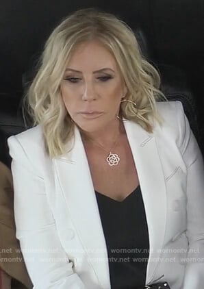 Vicki's white double breasted blazer on The Real Housewives of Orange County