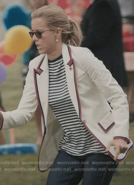 Elizabeth's white stripe trim blazer on Madam Secretary