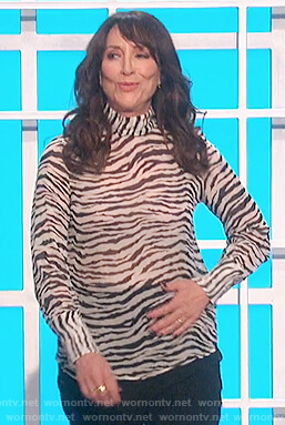 Katey Sagal's white zebra stripe top on The Talk