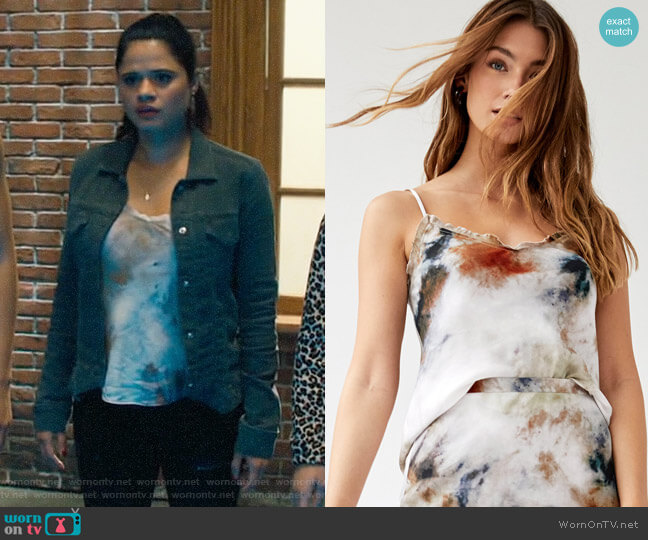 Wilfred Ruffle Camisole in Tie Dye worn by Mel Vera (Melonie Diaz) on Charmed