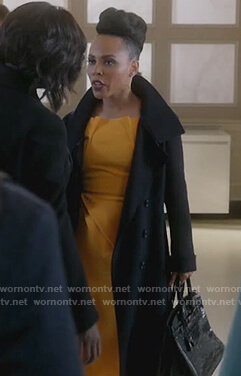 Tegan's yellow asymmetric dress on How to Get Away with Murder