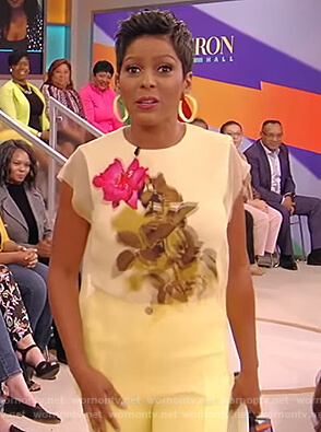 Tamron's yellow floral mesh top on the Tamron Hall Show